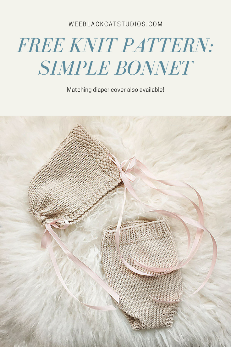 free knitting pattern for a easy and simple cabled baby bonnet.