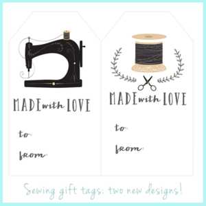 Free printable gift tags for sewing projects.