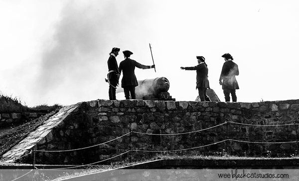 Canon fire at Fortress of Louisbourg, Cape Breton