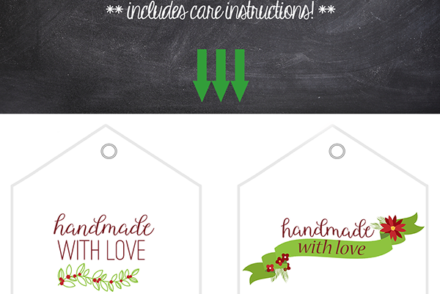 Handmade with Love gift tags -- free downloadable printable gift tags.